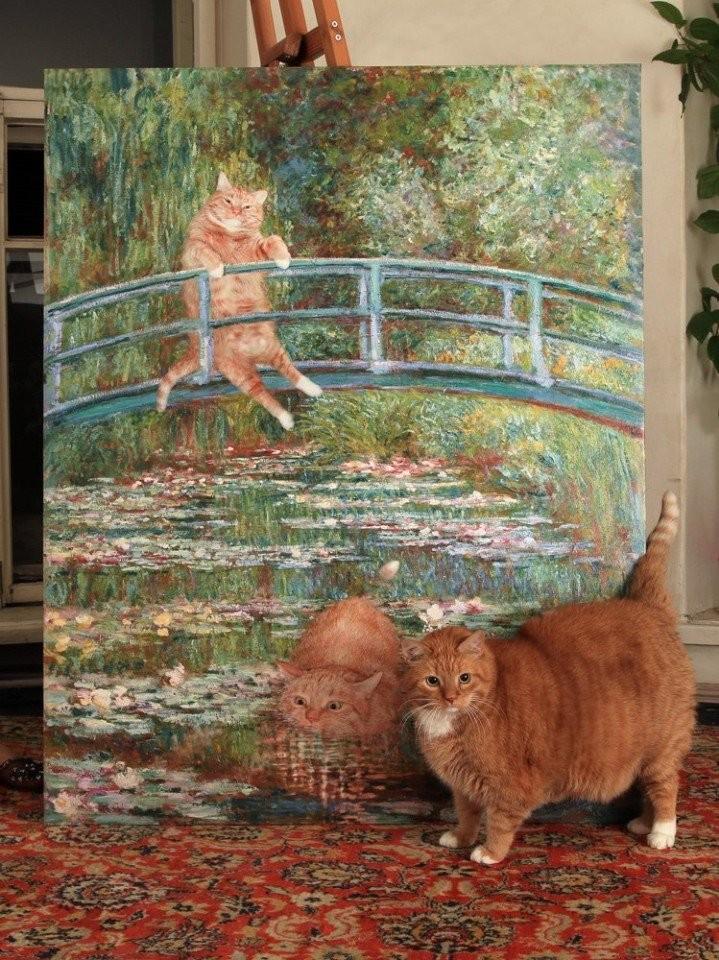 Картина с рыжим котом в стиле Моне
