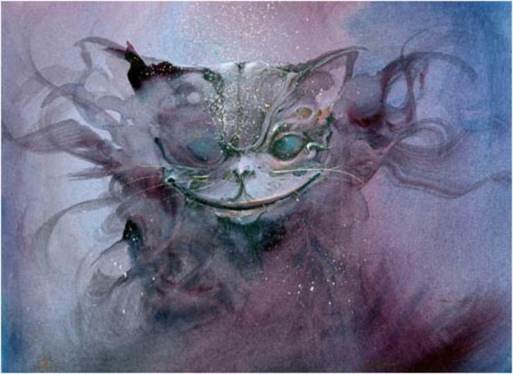 Чеширский кот акварелью