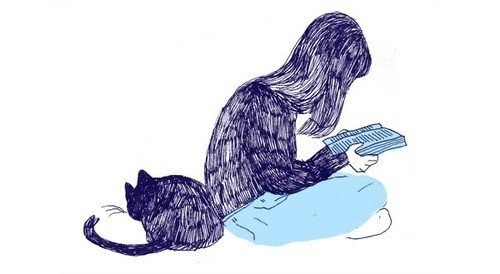 Девочка и кошка — рисунок ручкой