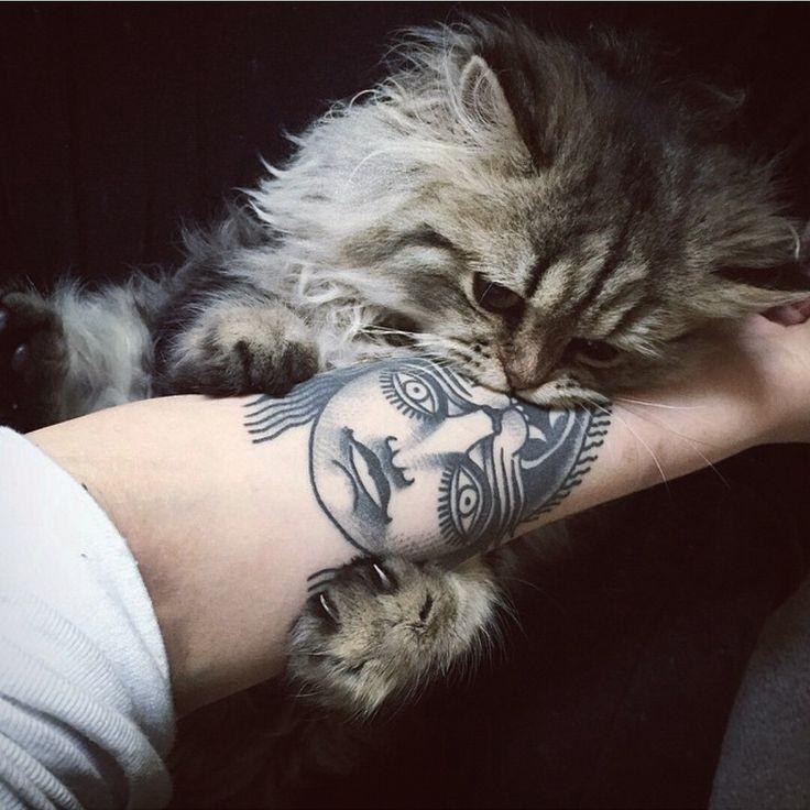 Грустная кошка лежит на руке