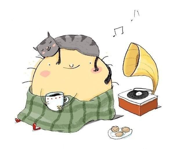 Кошка на граммофоне