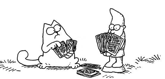 Кот Саймона играет в карты