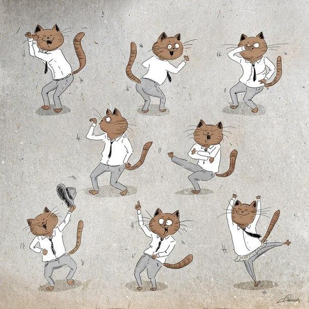 Танцы во славу пятницы. Позитивный кот