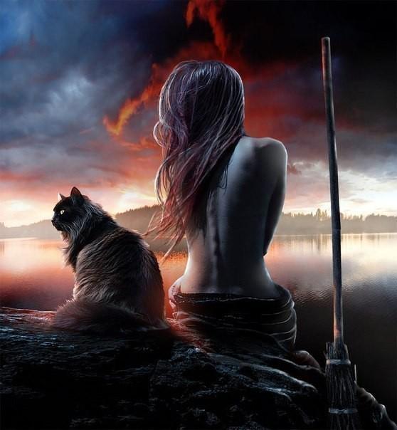 Девушка ведьма и кошка. Рисунок