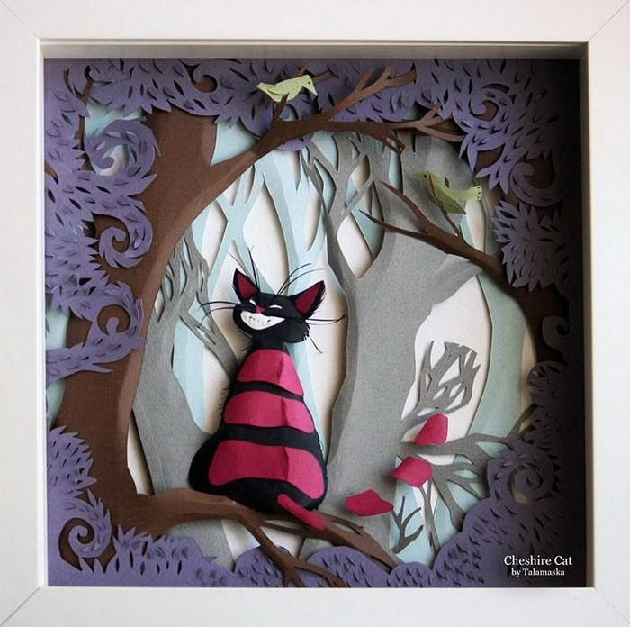 Иллюстрации Чеширского кота и Алисы в Стране чудес