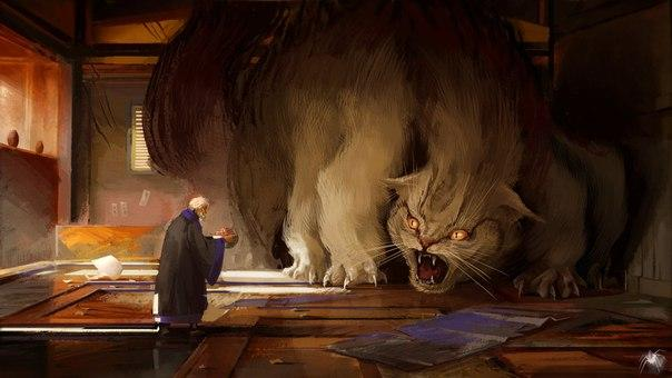 Демонический кот иллюстрации
