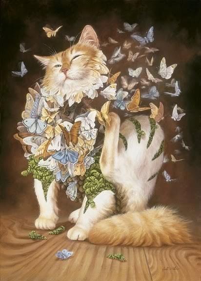 Кот напомнил Чеширского кота с бабочками