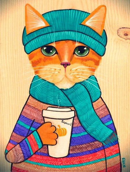 Рыжий кот в шапке