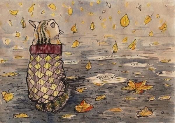 Осенний арт с котом