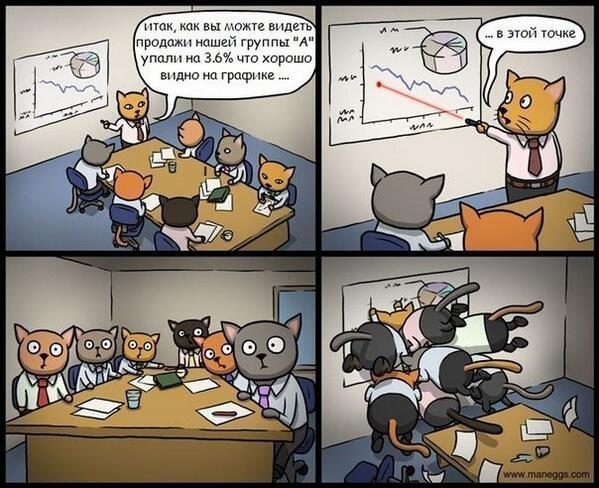 Комикс про совещание котов