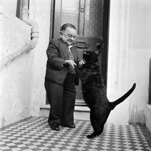 Самый маленький человек на земле и его кот.