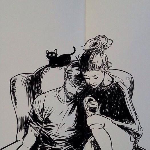 Девушка и парень с черным котом