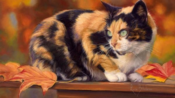 Трехцветная кошка живопись